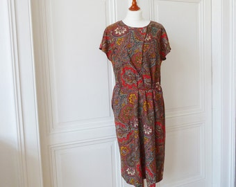 Paisley vintage dress, multi colored, dress in the boho style, for the summer, retro dress