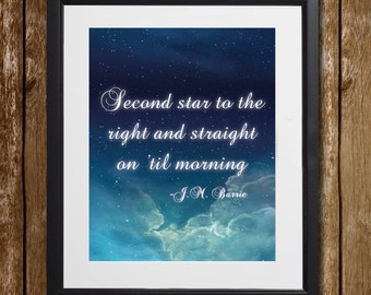 Peter Pan Second Star to the Right and Straight on 'Til Morning Wall Art - J.M. Barrie - Peter Pan Print - Cloud Print - Wall Decor - Sky