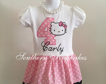 Custom KITTY Cat Kitten 2pc Day Dress & Hair Bow / Hello Boutique Pageant Infant Girls New NwT First Birthday 1st Second 2nd Third 3rd