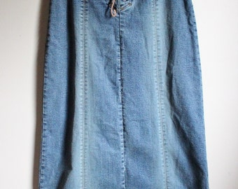Vintage '80's High - Waisted Faded Denim Lace Up Maxi Skirt