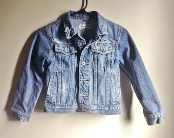 Great Youth Vintage Distressed and Faded Destroyed Denim Jacket