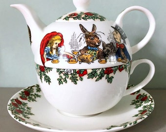 Alice In Wonderland Tea For One Tea Pot, Cup & Saucer