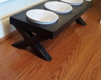 3 Bowl Raised Dog Bowl Dish,Elevated Stand, Rustic, ebony stained 24x10x6