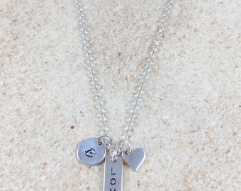 Love Necklace Sterling Silver Necklace Dainty Simple Silver Necklace Minimalist Valentine's Gift Personalized Initial Love Charm Initials