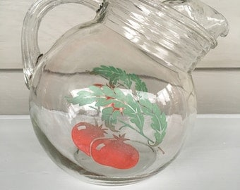 Small Vintage glass pitcher - 1950's- red and green Pomegrante print