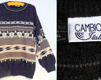 "CAMBIO ITALIA Mens XL Pullover Sweater Dark Gray Argyle 50"" Chest Vintage 80s"