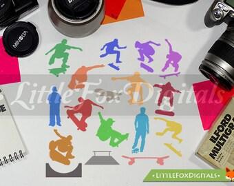 Skate Urban Sport Skateboard Color Silhouette Clipart Set Digital Illustration Scrapbook Artwork