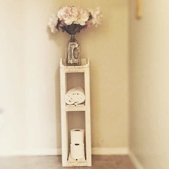 Items Similar To Shabby Chic Bathroom Shelves White Distressed Reclaimed Pallet Wood Tall