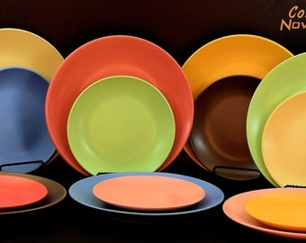 8 Ceramic dinner plates Lovely matte solid colors set of 8, dishes stoneware dinnerware