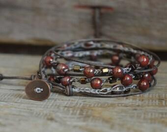 Beaded Crochet Jewelry, Crochet Wrap Bracelet, Boho Beach Jewelry, Crocheted Jewelry, Long Wrap Bracelet, Bead and Leather Bracelet