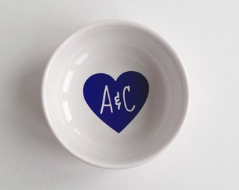 Custom Ring Dish - heart initials - Ring Holder - FREE SHIPPING