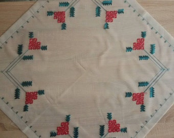 Beautiful needlework, tulle canvas, Table runner, Tablecloth