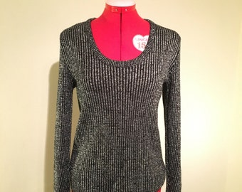 90s Sparkly silver woven ribbed top