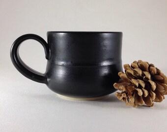 Handmade Ceramic Mug, Wheel Thrown Ceramic Mug, Black Pottery Mug