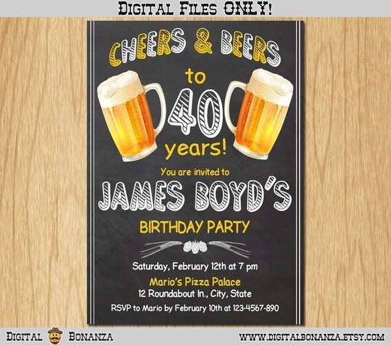 40th birthday invitation cheers beers invite surprise birthday