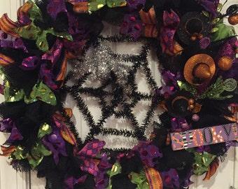 "Halloween Wreath 25"" Black Purple Green and Orange Burlap Halloween Wreath Halloween Decor Door Wreath Halloween READY TO SHIP"