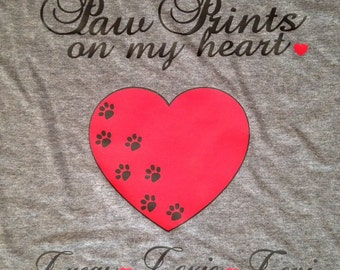Paw Prints on My Heart Personalized Tshirt