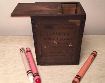 Rare Antique Hammett's Wooden Chalk Box Early 1900s