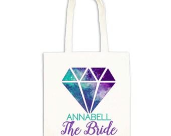 Brida to be cotton long handle tote gift bag   Personalised wedding gift idea   Diamond galaxy design.