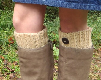Warm Beige Boot Cuffs with Button Accents - Crochet White Boot Toppers - Ribbed Boot Sweater