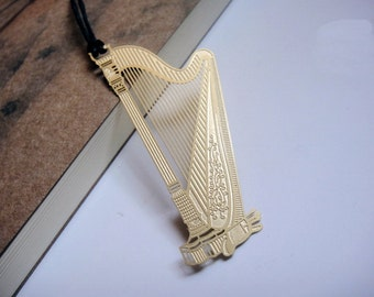 Gold Plated Harp Metal Bookmark Flat | Korea Stationery Book Bookmarks | Book Markers Art