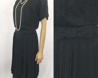 Vintage 1960s Black Dress Women's Large / 60s Pleated Dress Short Sleeve Black Party Dress w/ Pleated Skirt Pinup Dress Retro Fashion