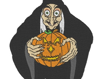 RESERVE machine embroidery pattern old witch with scary pumpkin- instant download