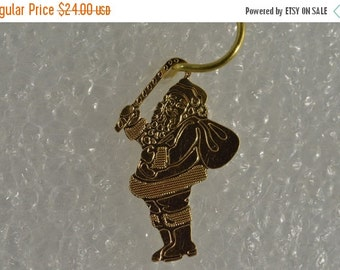 1 Day Sale 10K Delicate Santa Claus With Candy Cane Charm/Pendant Yellow Gold