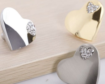 Heart Knobs Silver Gold Dresser Knobs for Girls Drawer Knobs Knobs Crystal Kitchen Cabinet Pulls Knobs Decorative Knobs Handle Hardware