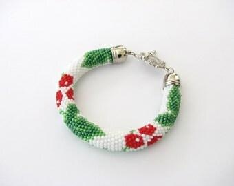 Rope beaded bracelet Viburnum berries pattern Bright bracelet Attractive floral pattern Bead Embroidery Crochet bracelet  FREE SHIPPING