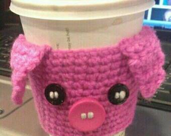 Cute Piggy Crochet coffee cup cozy