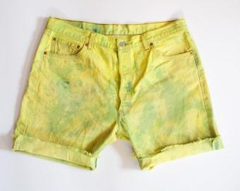 DENIM splatter yellow green SHORTS size 38