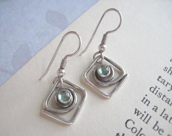 Sterling Silver Earrings, Vintage Sterling Silver Dangle Earrings, Green Stone Dangle Earrings, Small Earrings