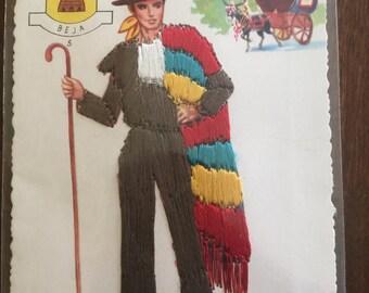 1950's Silk Embroidered Post card - Portuguese Native Costumes - Beja - Baixo Alentejo Pastor (A5)
