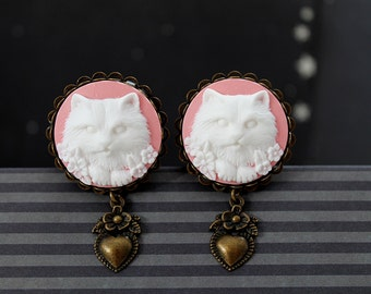 """Ivory pink cat cameo plugs 22mm 7/8""""  gauges stretched ears lobes heart dangles"""