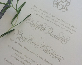 Sample Engraved Monogram wedding invitation with dove gray ink