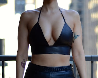 Genuine Leather Bralette - size S, Black Leather Halter Bra Top, Leather Crop Top, Black Bralette, Black Leather Bra, Black Leather Top