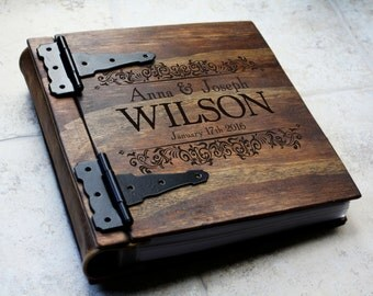 Unique Wood Wedding Photo Album Monogrammed Personalized Large Custom Book