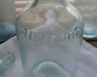 Set of 4 - 1800s Vintage: Rumford YEAST Powder Bottle - Perfect for bathing salts or bud vase