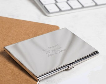 Personalised slimlined business card case in presentation box