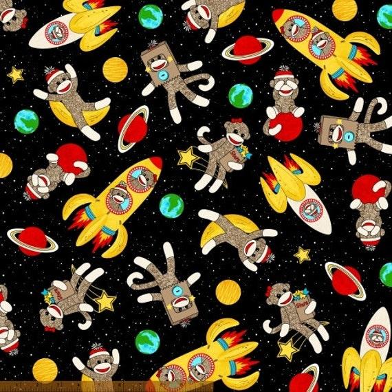Sock monkey fabric children 39 s fabric sock monkeys in for Space pants fabric