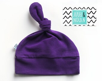 30% - baby knot hat - beanie for baby, shower gift - Purple