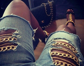 Chain Ripped Jeans-Upcycle your Jeans