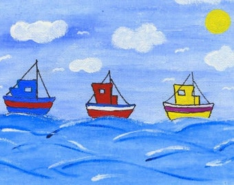 Colourful seaside three ships blank greeting card