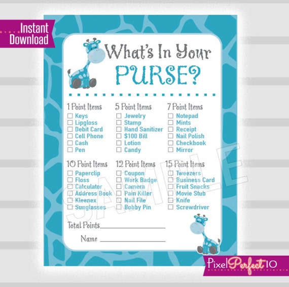 baby shower purse scavenger hunt game instant download baby shower