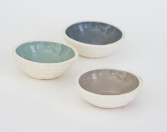 Neutral Clay Modern Minimalist Ceramic Floating Candle Holders, Trinket Bowls (set of 3)