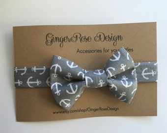 Anchor Bow Tie; Nautical Bow Tie; Gray and White Bow Tie; Baby Bow Tie; Toddler Bow Tie; Boy Bow Tie; Adjustable Bow Tie