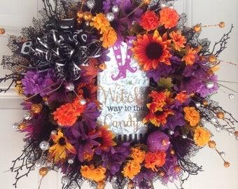 halloween wreath witch wreath halloween decor door decor halloween wreaths front - Halloween Candy Wreath