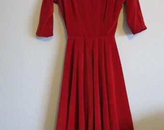 1950s Red Velvet Dress