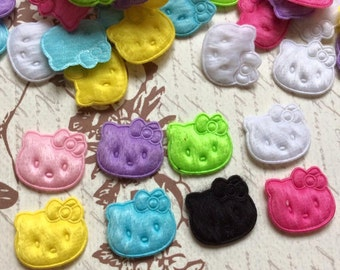 SET of 25  Mixed Kitty Cat Felt Padded Appliques